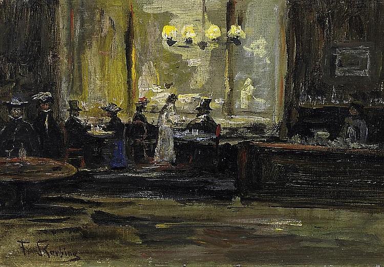 In the café.