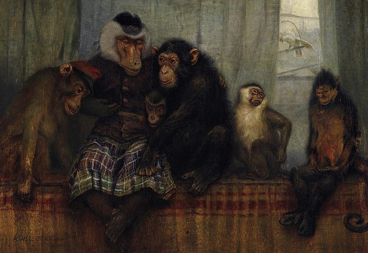 Indoor scene with apes.