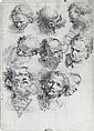 Figure drawing studies of the head., Lorenzo Tiepolo, Click for value