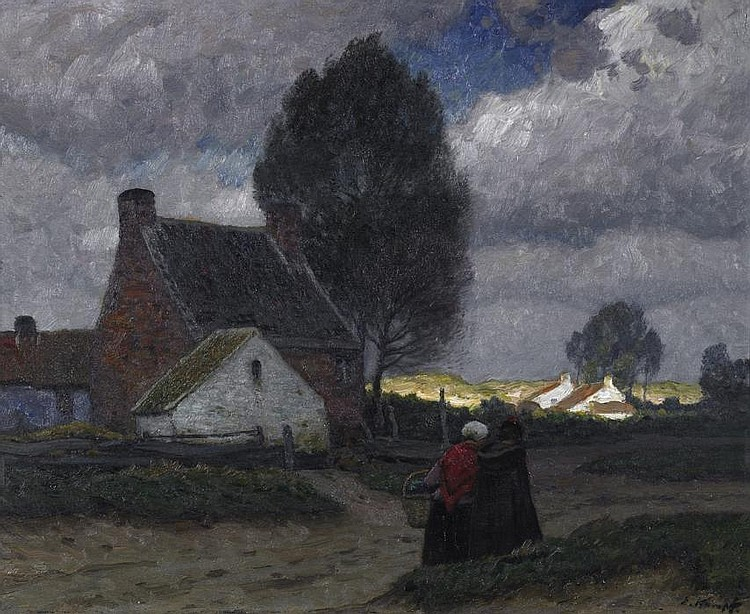 Two ladies on the village street in a flemish village.