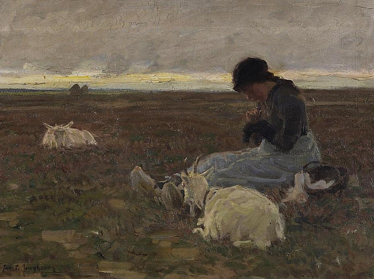 Young girl with two goats in a vast field landscape.