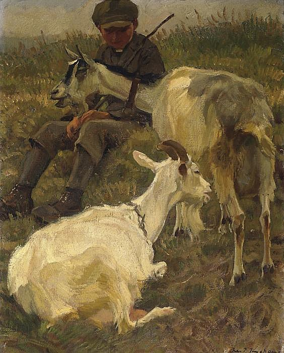 Small goatherd with two animals.