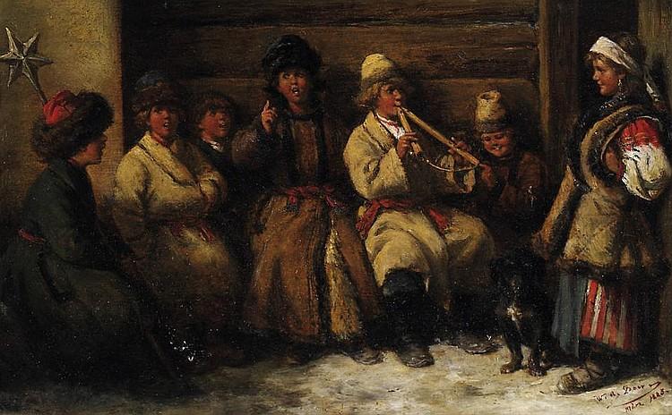 Die kleinen russischen Weihnachtssänger.