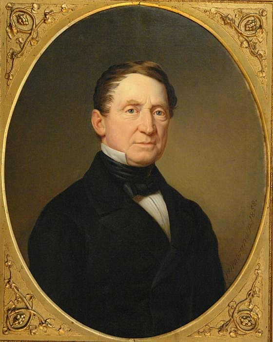 Portrait of a man with standing collar.