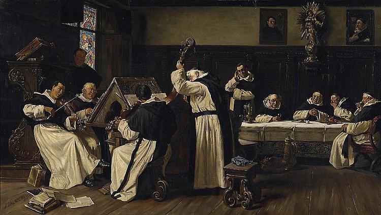 Friars making music.