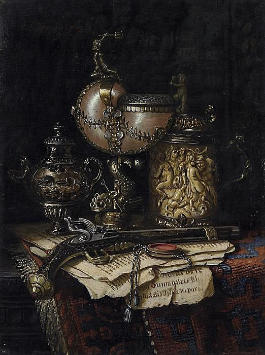 Still life with a Nautilus vase, a sculptured tankard as well as a revolver.