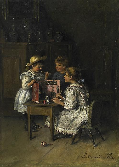 Three children with their play-kitchen.