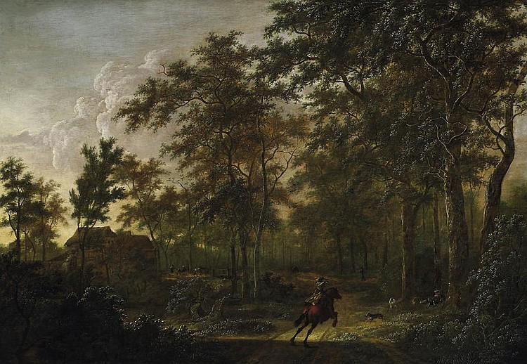 Large summerly forest landscape with hunters.