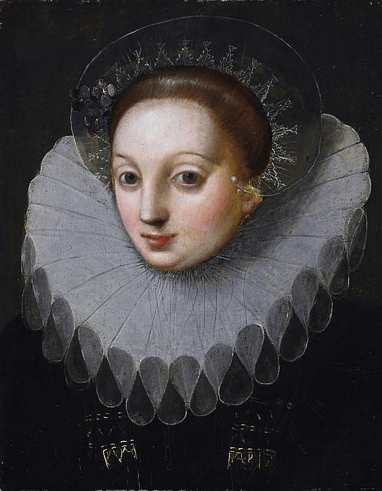 Two paintings: Portrait of a distinguished lady with hood as well as a distinguished gentleman with lace collar.