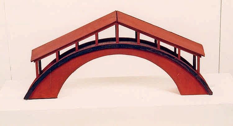JUNG, KLAUS 1955 Solingen Römische Brücke. Pappskulptur, rot ange