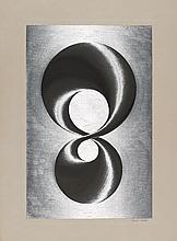 DUPRÉ, PATRICK 1945 Paris Ohne Titel. Gravure auf Aluminiumfolie. Auf Velin gezogen. 57 x 37,5cm (74,5 x 55,5cm). Signiert und nummeriert. Ex. 137/195. - An der linken und unteren Kante leicht gebräunt. Wasserflecken (bis ca. 3,5x1cm) entlang der linken Kante. Kleine Stockflecken. Verso leicht gebräunt. Verso bezeichnet: Dup 29/17.