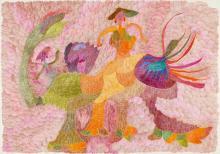 URSULA (URSULA SCHULTZE-BLUHM) 1921 Mittenwalde/Mark Brandenburg - 1999 Köln Auf rosa Wölkchen. 1981. Farbstiftzeichnung auf SCHOELLERSHAMMER, Kölner Malkasten 4G dick (Trockenstempel). 51 x 73cm. Signiert und datiert unten rechts: Ursula 1981. Bezeichnet verso: URSULA 'auf rosa Wölkchen' 1981.