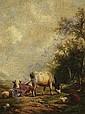Gemalde Alter Meister Ingren, Hendrikus Alexander van 1846 Renkum - 1920 Renkum Vieh auf der Weide Signiert unten rechts: HA van Ingen. Ol auf Holz. 25,5 x 20cm. Rahmen.