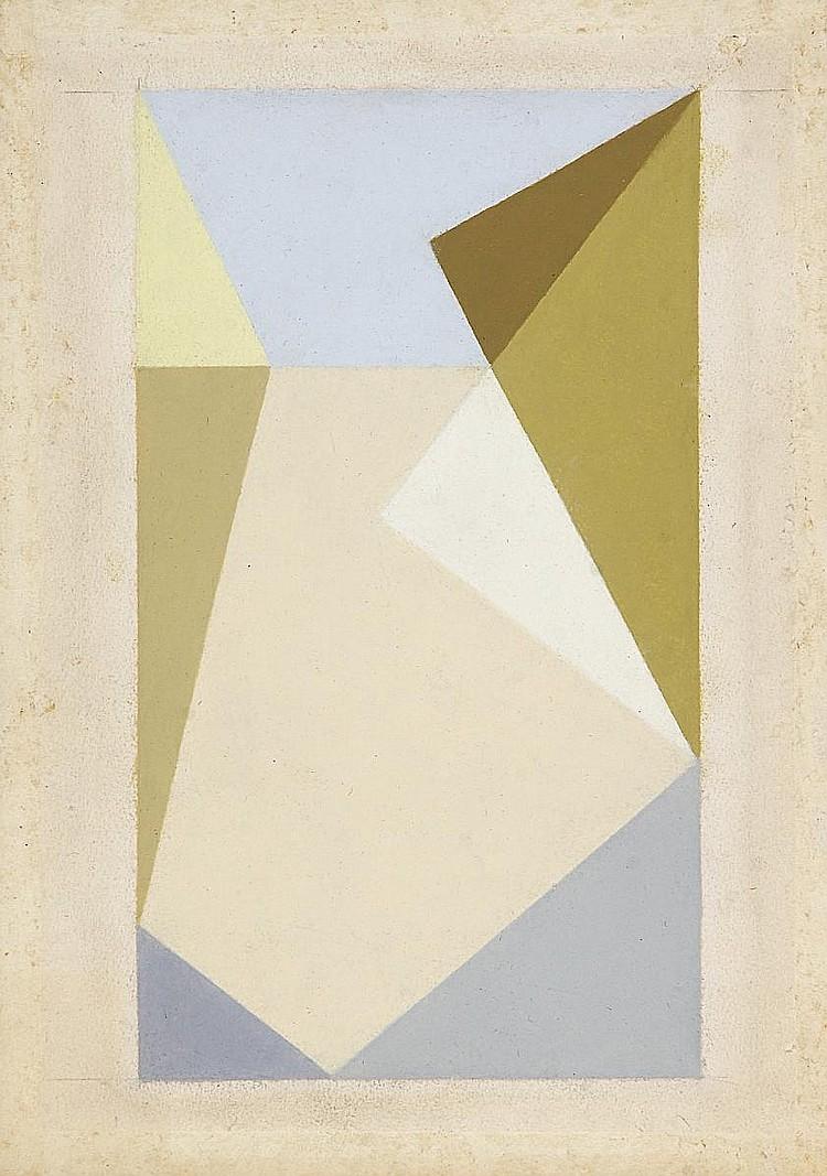 Heurtaux, André Paris 1898 - 1983  Composition aux triangles croisés.
