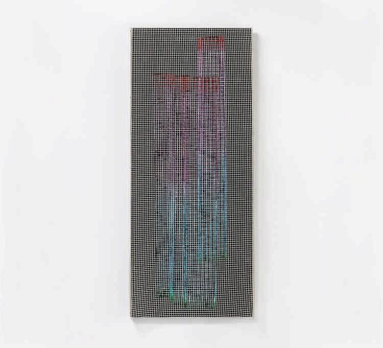 CONTRERAS-BRUNET, IVAN 1927 Santiago de Chile Ohne Titel (Draht-Objekt). Ca. 1969. 2-teilig. Vier Drahtgitter, farbig gefasst, Nylonschnüre, dreieckiges Plexiglaselement und schwarz gestrichene Holzlatte mit Aluminiumleisten. Ca. 135 x 41 x 34cm.