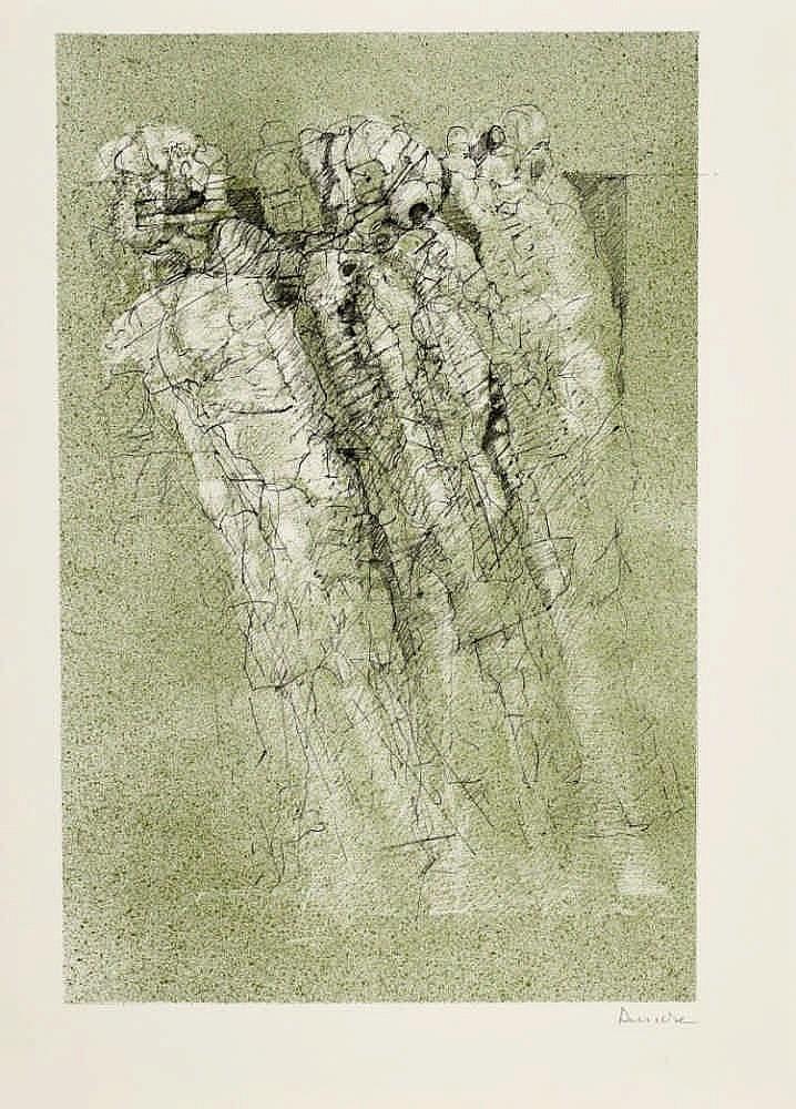 BENECKE, DIETER 1928 Hannover Suite zu ''Sigill'', Heft 1, Folge 3. 1972. Folge von fünf Lithografien, davon eine farbig, auf Velin. Unterschiedliche Formate. Ein Blatt signiert sowie vier Blätter signiert und nummeriert. Otto Rohse Presse, Hamburg