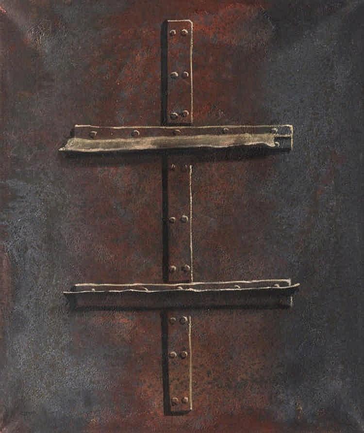 BAUKHAGE, GERD 1911 Herten - 1998 Köln ''Eisenplatte I''. 1979. Mischtechnik auf Rupfen. 130,5 x 110cm. Signiert, betitelt und datiert verso auf Keilrahmen: Gerd Baukhage 1979. Daneben betitelt.