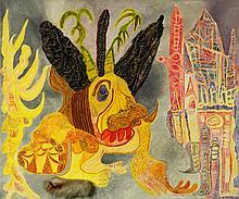 URSULA (URSULA SCHULTZE-BLUHM) 1921 Mittenwalde/Mark Brandenburg - 1999 Köln ''Das Tier wird die Stadt anfressen''. 1981. Assemblage (Öl, Lurex, Pelz) auf Leinwand. 100 x 120cm. Signiert und datiert unten rechts: Ursula 81. Verso nochmals signiert