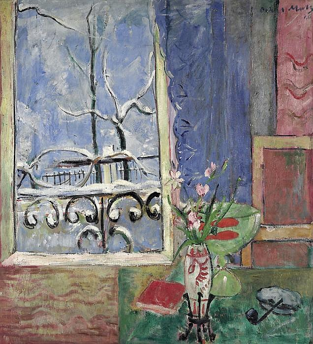 Moll, Oskar 1875 Brieg/Silesia - 1947 Berlin  Window with lattice and goldfish.
