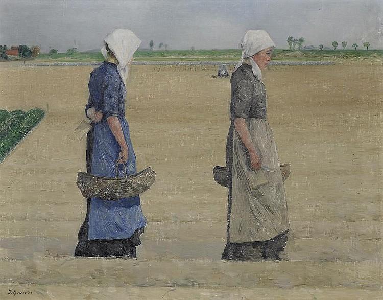 Schmurr, Wilhelm 1878 Hagen - 1959 Düsseldorf  Women reaping asparagus.