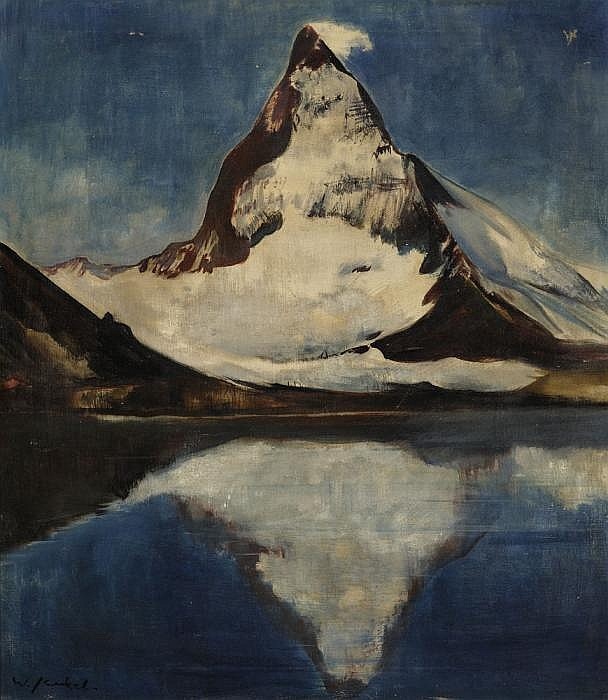 Jaeckel, Willy 1888 Breslau - 1944 Berlin  Matterhorn by the Riffelsee lake.