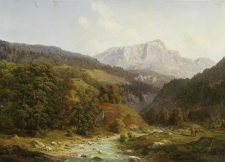 Haeselich, GeorgHamburg 1806 - 1894 Panoramic Landscape of the Alpines.
