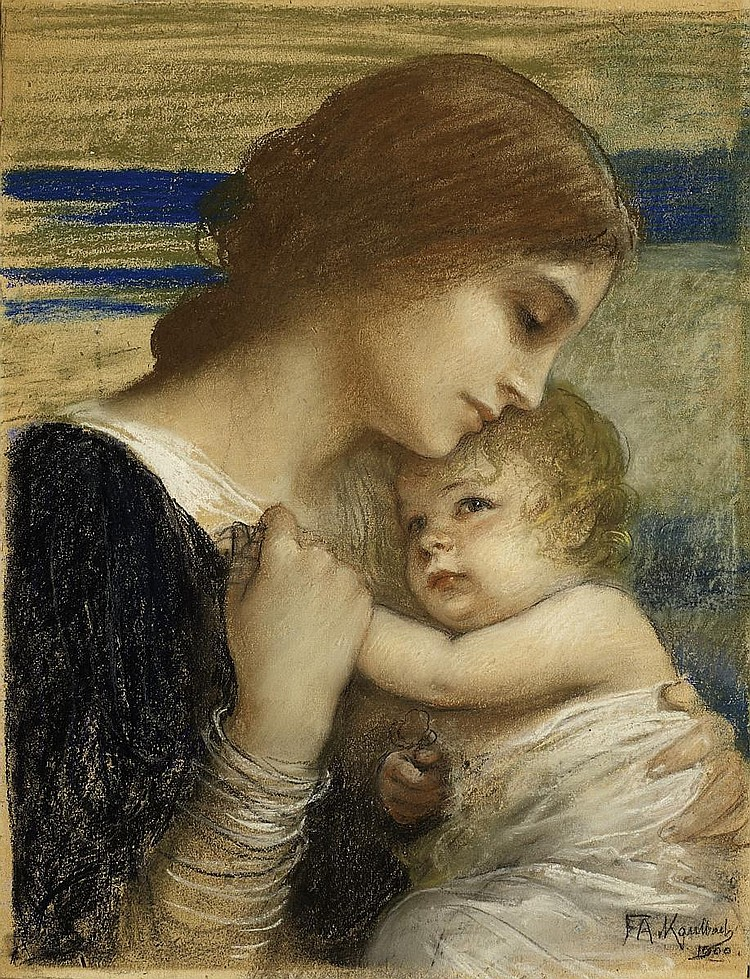 Kaulbach, Friedrich August von1850 Munich - 1920 Ohlstadt Mother and child.