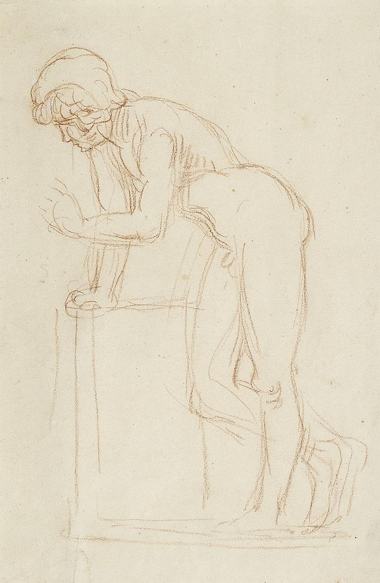 Marées, Hans von1837 Elberfeld - 1887 Rome Leaning young nude male (Narcissus).