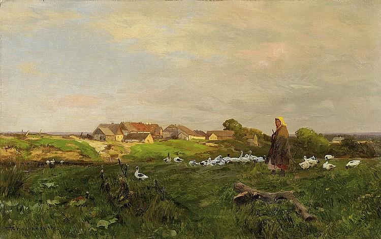 Kochanowski, Roman1846/47 Krakow - 1945 Freising The goose Girl.