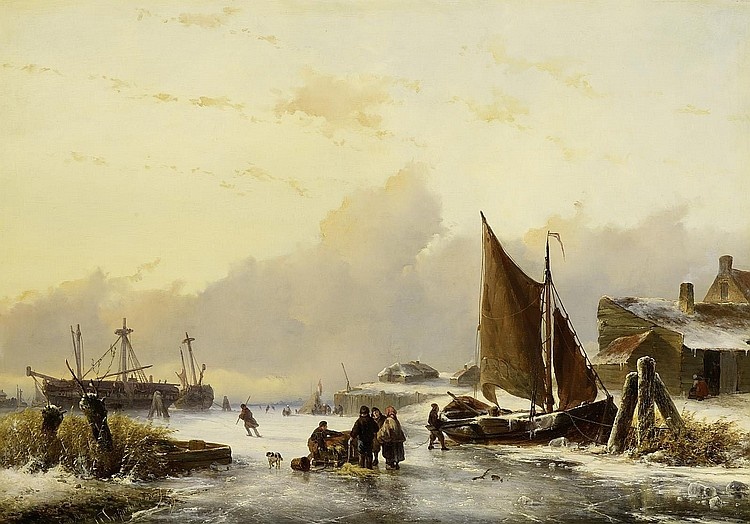 Meijer, Johan Hendrik Louis1809 Amsterdam - 1866 Utrecht - and Hoppenbrouwers, Johannes Franciscus (1819 - 1866 The Hague) Winter day on the coast of Holland.