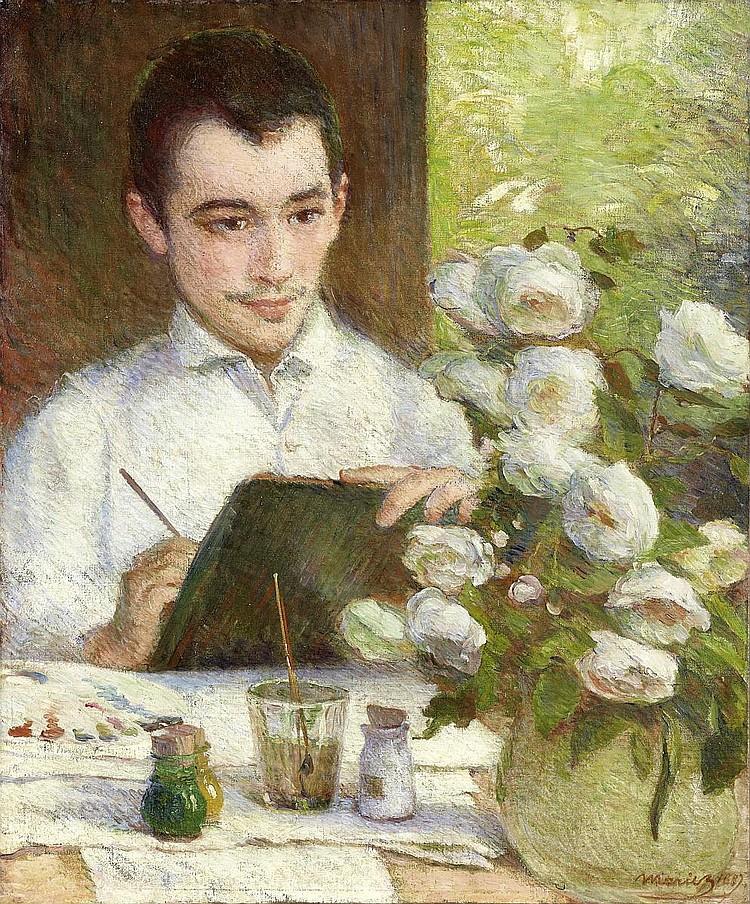 Bracquemond, Marie1840 Argenton - 1916 Sevres Pierre peignant des fleurs.