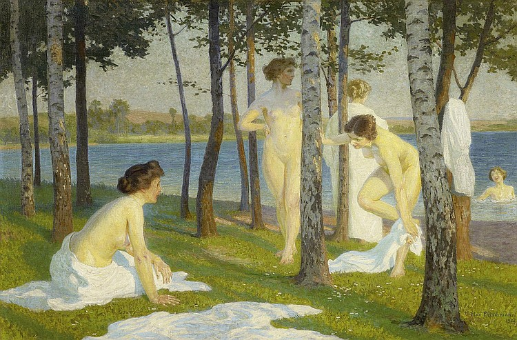 Pietschmann, Max1865 Dresden - 1952 Niederpoyritz Bathing in the lake.