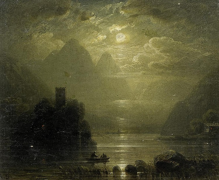 Seidel, AugustMunich 1820 - 1904 Moonlight over Lake Geneva with the Chateau Chillon.