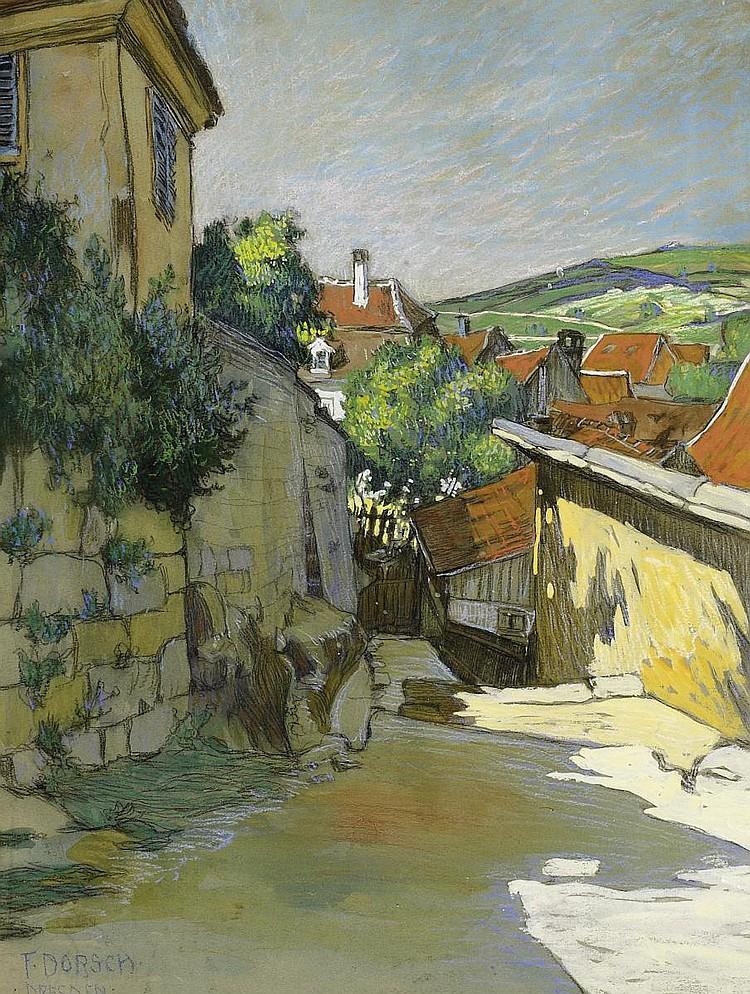Dorsch, Ferdinand1875 Fünfkirchen - 1938 Dresden Street square near Pillnitz.