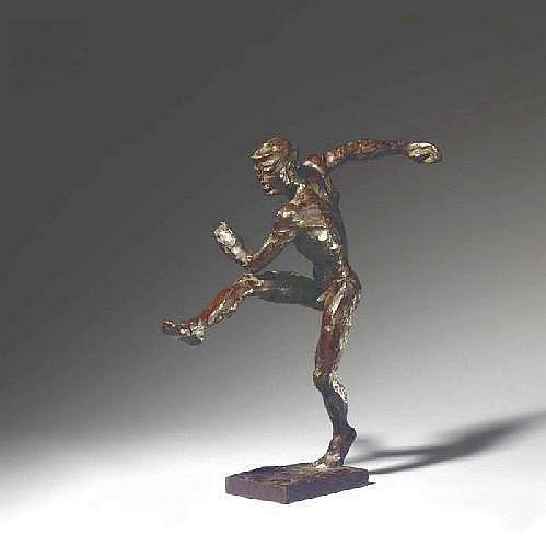 Sintenis, Renee 1888 Glatz/Silesia - 1965 Berlin Soccer-player. 1927 Bronze. Darkbrown patina. Plinth. 41 x 9,5 x 14,5cm. Signed R. Sintenis beneath left foot on plinth. Overleaf side at rim of plinth caststamp: H. Noack Berlin Friedenau. C. R.