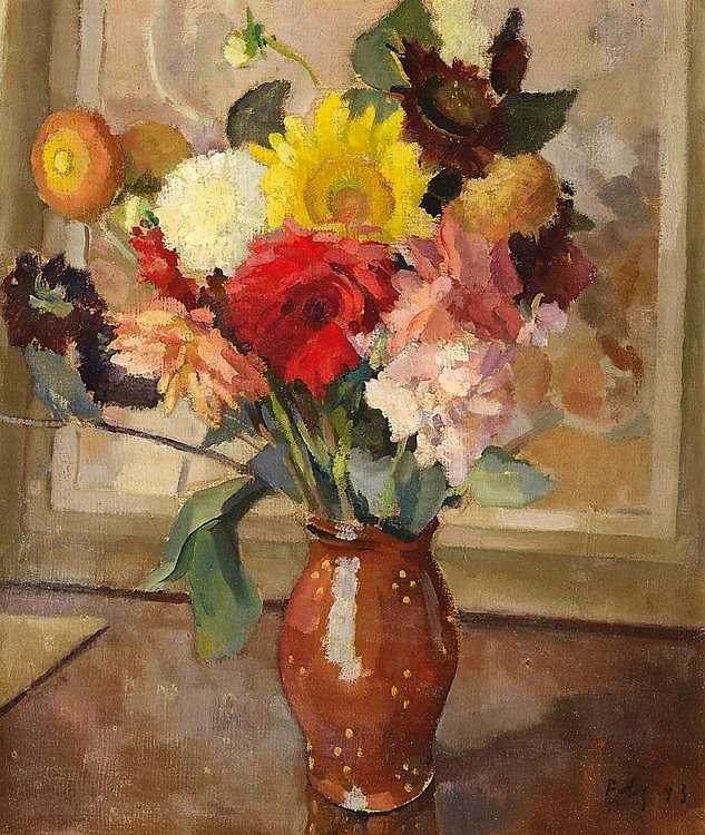 Mackensen, Fritz  1866 Greene - 1953 Bremen  was active in Worpswede and Weimar    Still life with Flowers in a brown Jug by the Window.