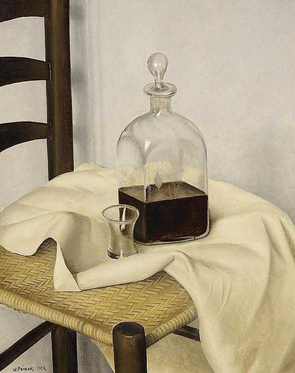 Peiner, Werner  Düsseldorf 1897 - 1981    Stuhl mit Flasche.