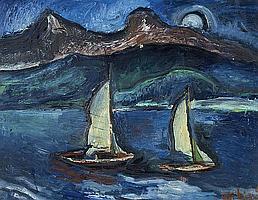 Büger, Adolf Munich 1885 - 1966 Sailboat on the Tegernsee.