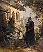 Schlesinger, Carl    1825 Lausanne - 1893 Düsseldorf    Auf dem Kirchhof. Signiert unten rechts: C. Schlesinger. Öl auf Leinwand. 74 x 62cm. Rahmen., Karl (1825) Schlesinger, Click for value