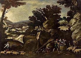 Collantes, Francisco Madrid 1599 - 1656 - Umkreis Weite bergige Landschaft mit Hirten und ihrem Vieh. Öl auf Leinwand. Doubliert. 137 x 190cm. Rahmen.