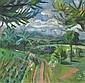 Erbslöh, Adolf    1881 New York, USA - 1947 Irschenhausen - zugeschrieben    Westfälische Landschaft. Tempera auf Bezugsstoff. 67 x 69cm. Rahmen., Adolf Erbslöh, Click for value