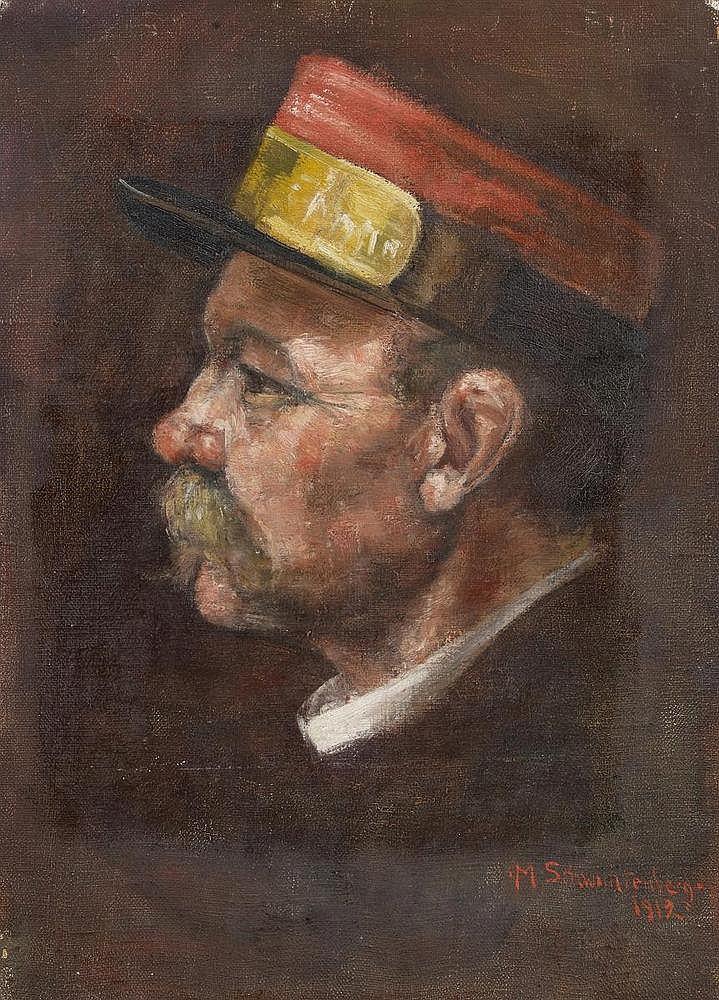Schwichtenberg, Martel    1896 Hannover - 1945 Sulzburg    Porträt eines Postboten im Profil. Signiert und datiert unten rechts: M. Schwichtenberg 1919. Öl auf Leinwand. 48 x 34,5cm.