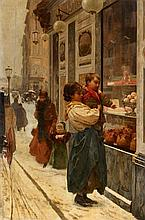 Rome 1852 - 1935Children in front of an Italian Pastry Shop.