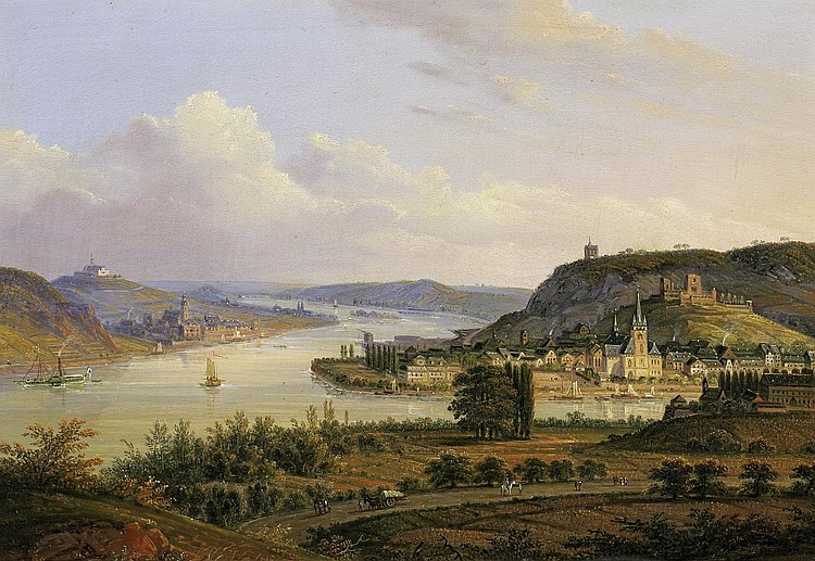 Diezler, Johannes Jakob1789 Ehrenbreitstein - 1855 Andernach - circle  The Nahe confluence by Bingen with view over the Rheingau.