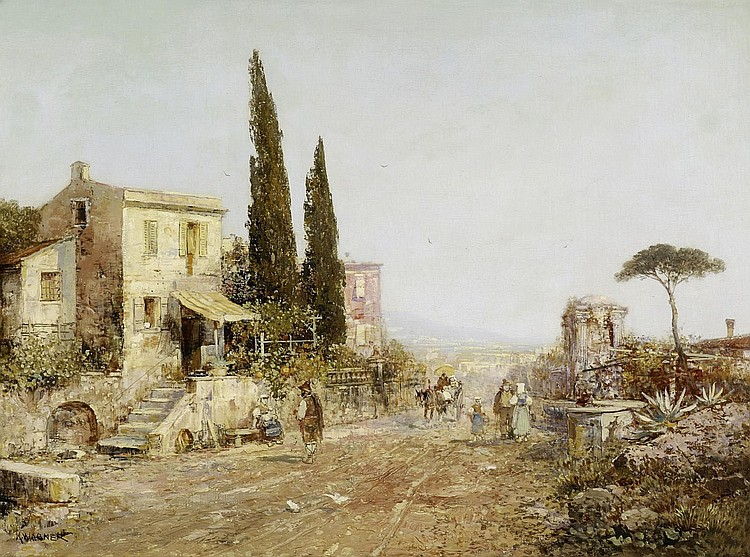 Wagner, Karl Theodor1856 Vienna - 1921 Prechtoldsdorf  On a rural road in Italy.