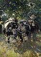 Zügel, Heinrich von1850 Murrhardt - 1941 Munich  Peasant and cattle., Heinrich