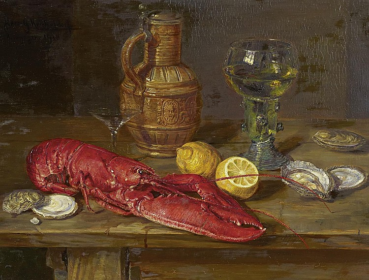 Kricheldorf, Hermann Gottlieb1867 Celle - 1949 Munich  Still life with oysters, lemons and lobster.