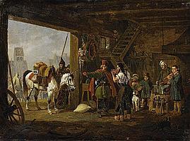 Hess, Peter von1792 Düsseldorf - 1871 Munich - attributed Cossack's at the Farrier's.