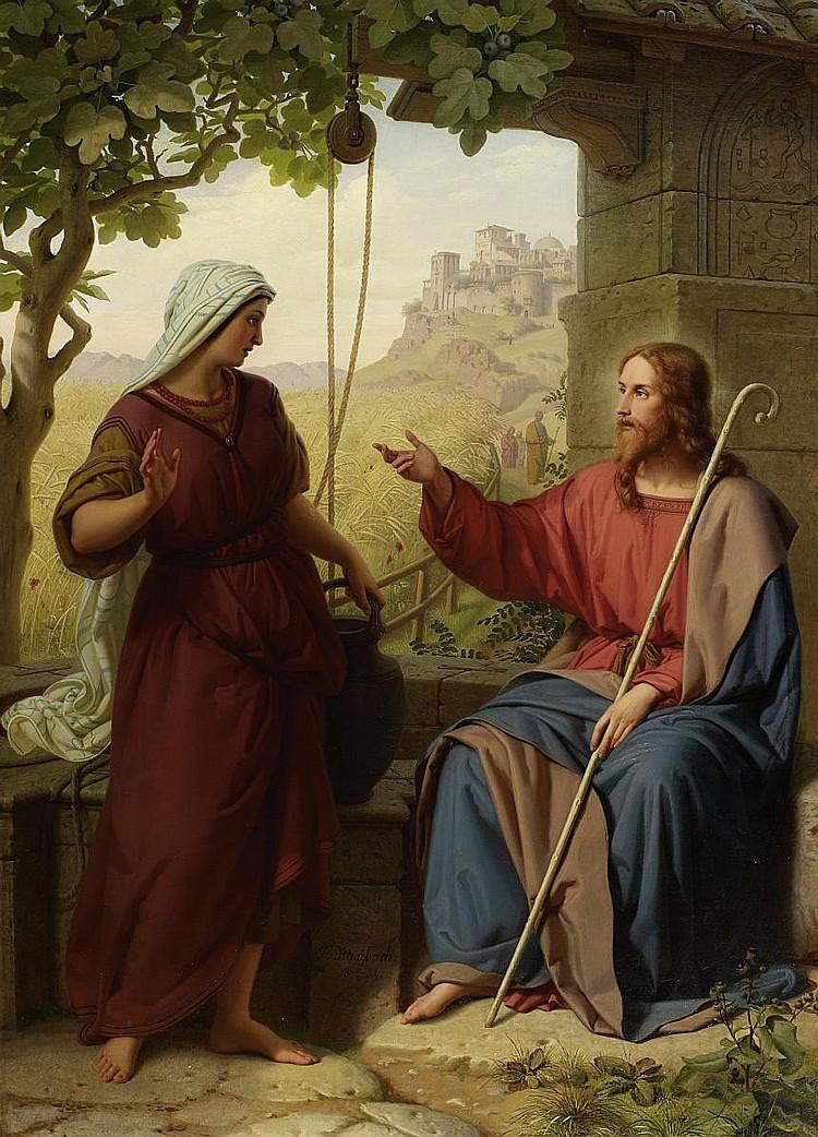 Ittenbach, Franz1813 Königswinter - 1879 Düsseldorf  Christ and the Samaritan by the well.