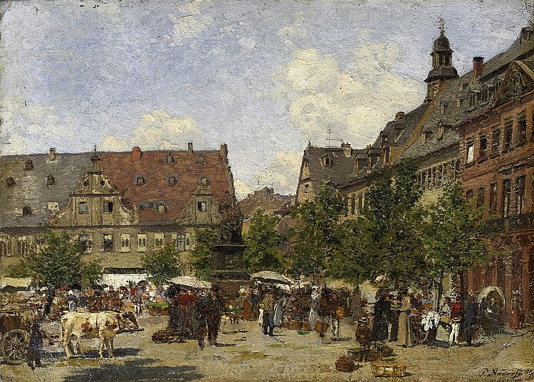 Andorff, Paul1849 Weimar - 1920 Frankfurt/Main  Market square in Weimar (?).